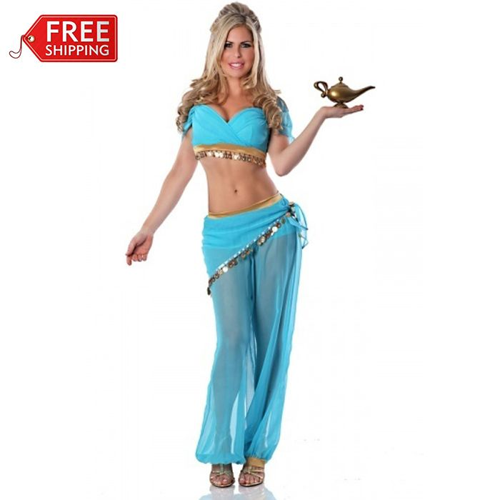 princess jasmine costume women adult Aladdin's Princess Jasmine cosplay halloween costumes for women Belly dance dress wholesale