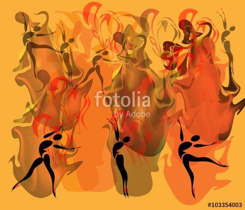 Вектор: Танец огня.Силуэт балерины на огненном фоне.