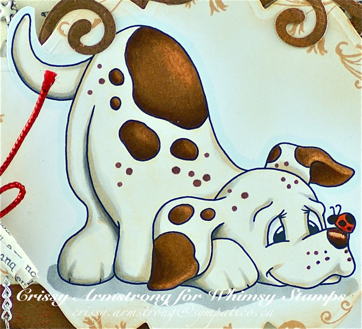 White of dog's body: E50 all over. Shadows: N0, 1, 4, 5, E21  Brown spots: E13, 25, 27, 29, with some blender on the highlights  I drew around the image with BG0000  Ladybug: YR09, R46  I sponged Tea Dye Distress ink around the edges of the image