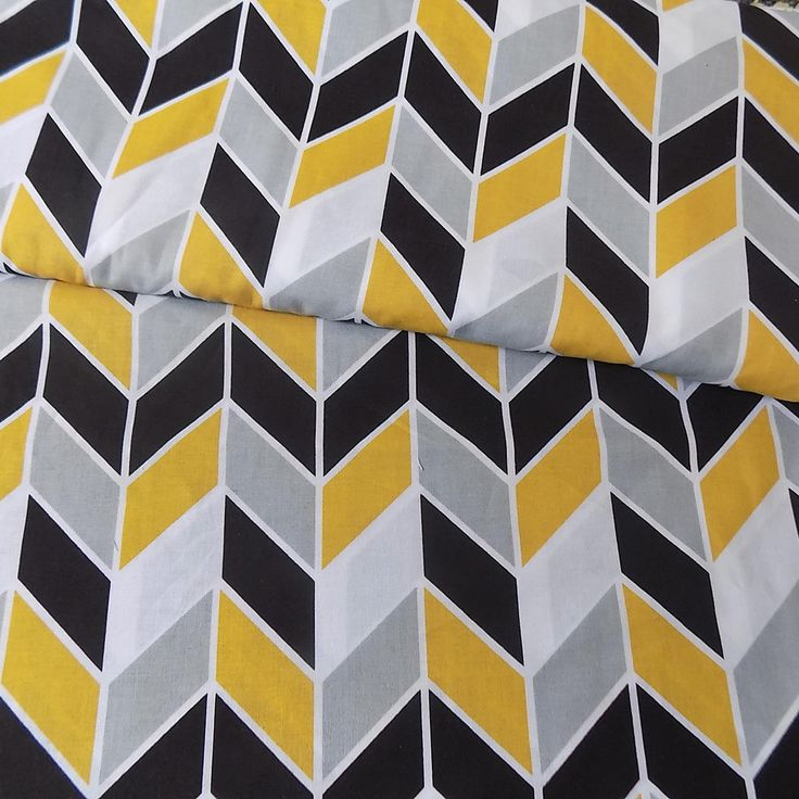 100% Cotton Fabric Grey - Mustard - White - black  HERRINGBONE  Arrow Print  Medium size pattern  - Cotton Print Fabric  optional sizes