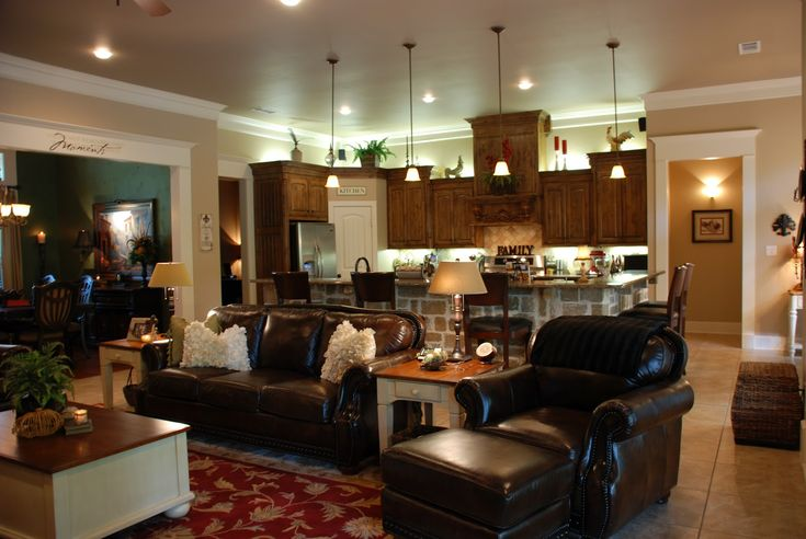 Open concept kitchen living room designs one big for House plans with big kitchens and hearth rooms