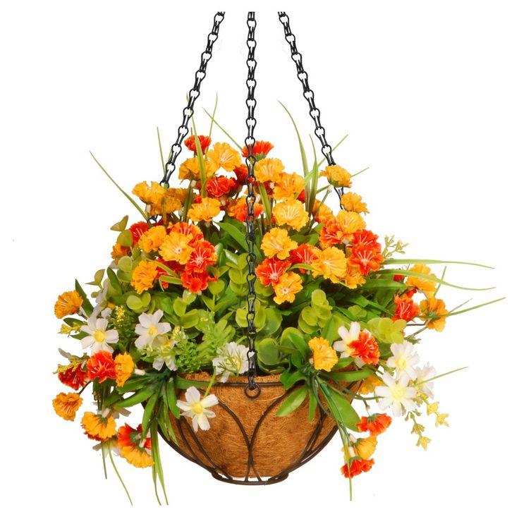 Spring Flowers Artificial Hanging Basket Orange 13 - National Tree Company, Orange Dream