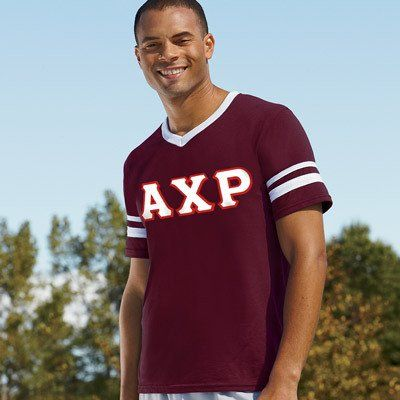 Alpha Chi Rho Striped Tee with Twill Letters - Augusta 360 - TWILL