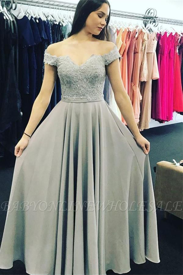 025eec224b ... Grey Satin And Lace Long Bridesmaid Dresses. Elegant Off-the-shoulder  Lace A-line Short Sleeve Prom Dress | www.babyonlinewholesale.com