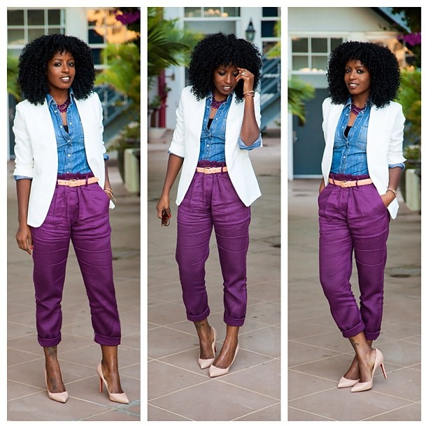I love those purple pants, especially with the blue shirt! They would look great with hot pink or green, too.