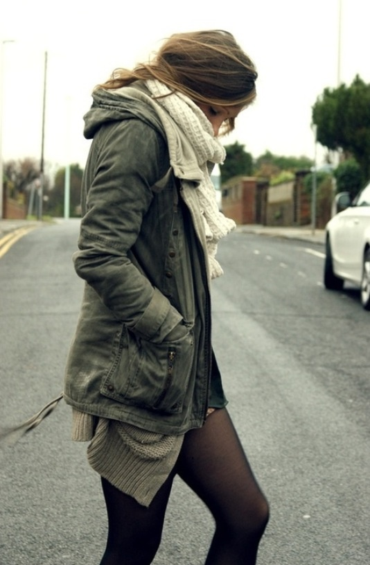 Military jacket, white scarf, black thigts, cute messy hair