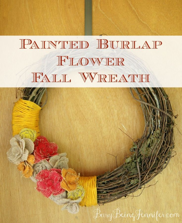 Painted Burlap Flower Fall Wreath