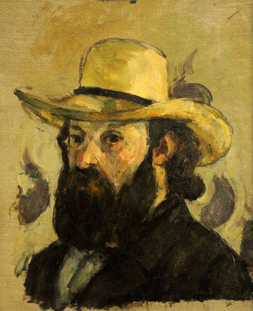 Paul Cézanne ~ Self-Portrait in a Straw Hat, 1875-76