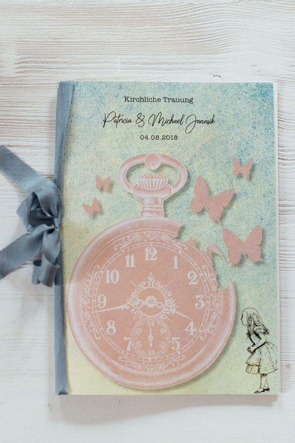 Alice Im Wunderland Hochzeitskarte Kirchenheft Hochzeitspapeterie