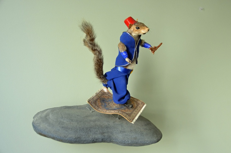 Arabian Squirrel on a Flying Carpet - Jeanie M  http://www.laluzdejesus.com/shows/2012/Rogue-Taxidermy/RogueTaxidermy2012.htm