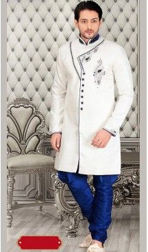 White Color Jacquard Silk Short Sherwani and Bridges | FH446470268 #Heenastyle, #heenastyle, #Mensfashion, #Mens, #Sherwani, #Menssuit, #indowesturn, #Fashion, #Kurta, #Style, #India
