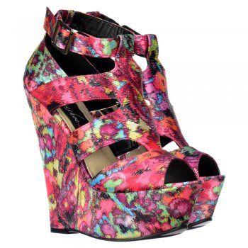 Onlineshoe Satin Wedge Peep Toe Platform Shoes - Strappy Sandals - Floral Multi - Onlineshoe from Onlineshoe UK