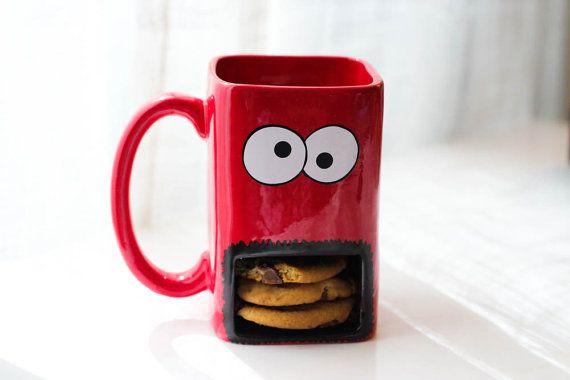 Galletas taza de titular. Taza con soporte de cookies. Dunk Mug. Taza de Cookie Monster. Taza con galleta titular.