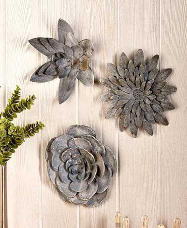 Galvanized Metal Wall Flowers Yard Metal Wall Flowers