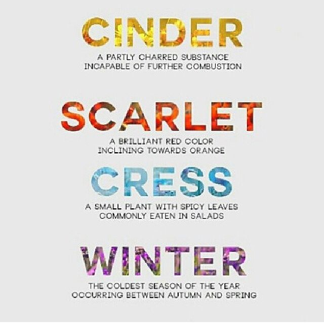 Cinder: A partly charred substance... oh dear.. too soon...