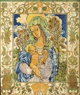 """Jorge Barradas   """"Nossa Senhora com o Menino""""   c.1950   Museu de Lisboa / Lisbon Museum #Azulejo #JorgeBarradas"""