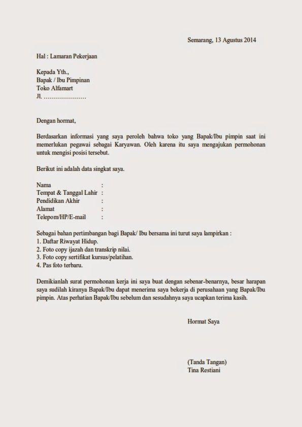 Contoh Surat Lamaran Di Toko Alfamidi Di 2021 Surat Kerja Pimpinan