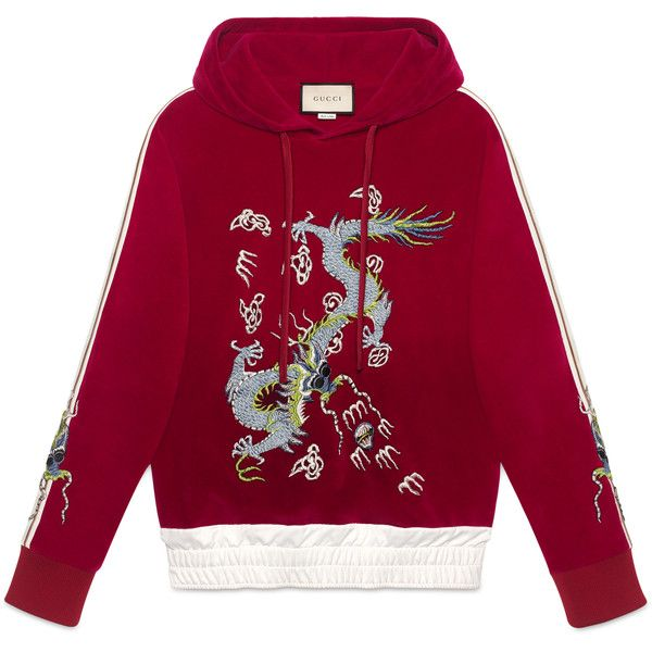 Gucci Velvet Sweatshirt With Dragon Appliqué ($1,690) ❤ liked on Polyvore featuring men's fashion, men's clothing, men's hoodies, men's sweatshirts, sweaters, gucci, hoodies, men, ready-to-wear and sweatshirts