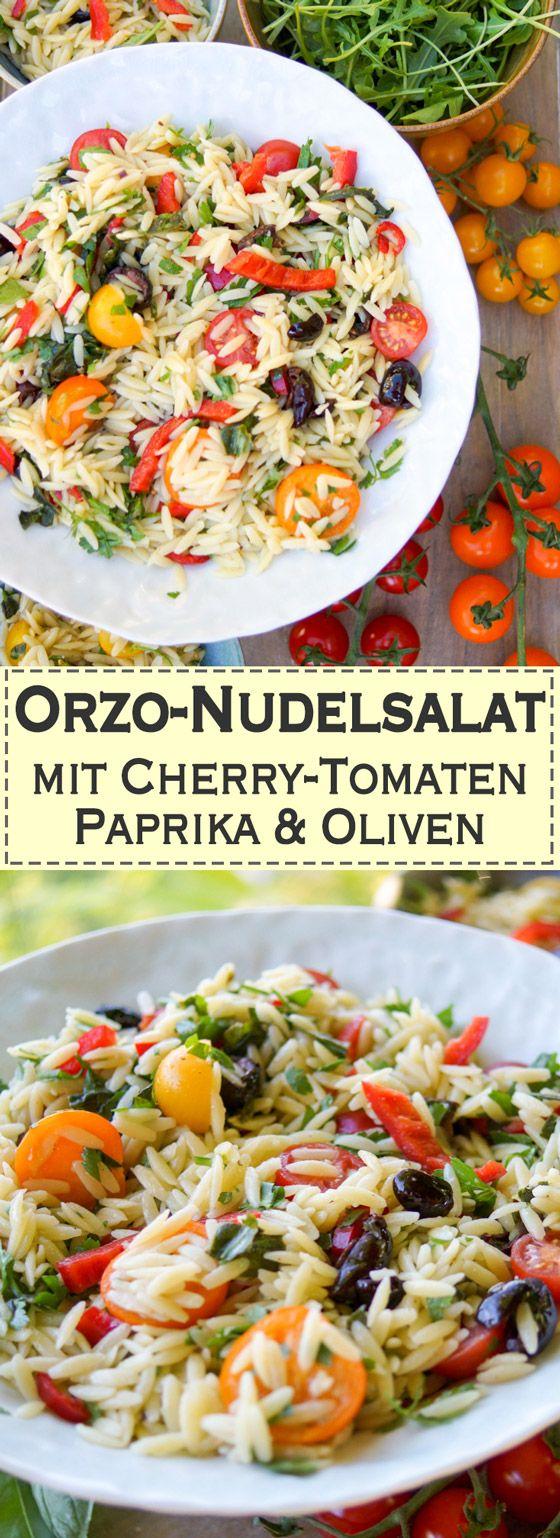 Orzo-Reisnudeln, Cherry-Tomaten, rote Paprika und Oliven sind ein leichtes Pasta-Gericht mit einer wunderbaren Kombination aus leckeren Aromen. Es ist leicht und schnell zuzubereiten und passt zum Sommer oder einem warmen Frühling. Wer lieber Vollkornnudeln mag, kann sie jederzeit statt Orzo machen. Vegetarisch und Vegan. Einfache, Gesunde Rezepte - Elle Republic