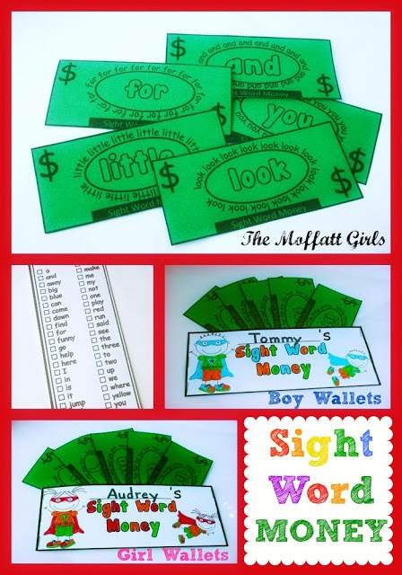 Sight Word Money!  Such a fun way to learn sight words!  Kids can earn some sight words bucks each time they learn a new word!  Great way to motivate kids!