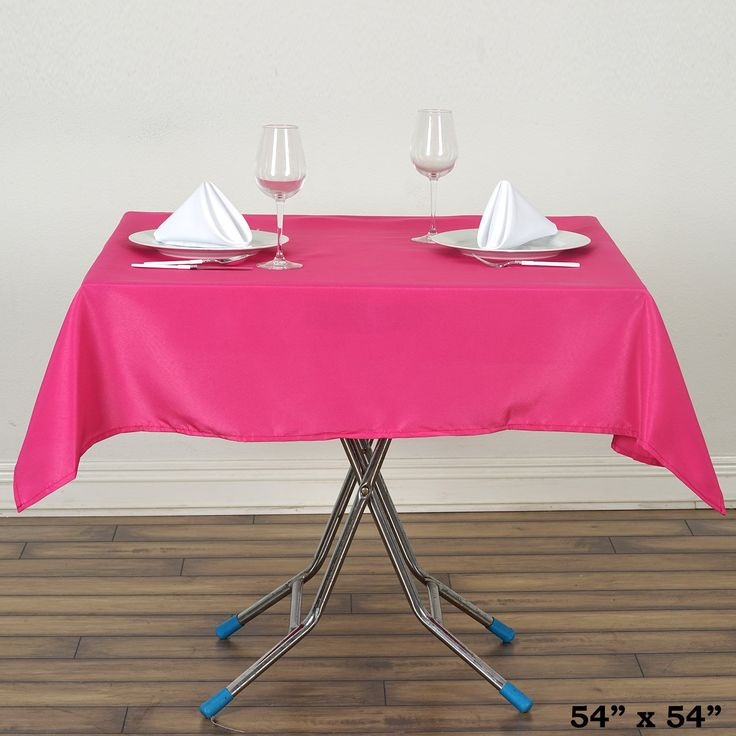 """54x54"""" Fushia Wholesale Seamless Polyester Square Linen Tablecloth For Wedding Banquet Party Restaurant"""