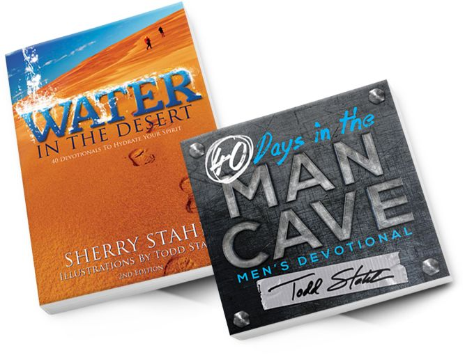 Water in the Desert by Sherry Stahl and 40 days in the Man Cave by Todd Stahl are 2 amazing new devotionals. Click through to learn more about what makes them so unique, relateable and real.