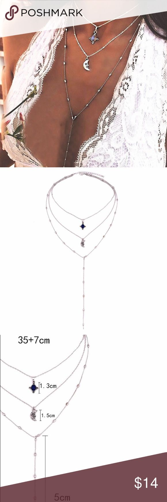"""NEW🔥 Trendy """"Sparkling Moon"""" Boho Choker Adjustable. Everything comes connected together. Save more when you bundle just """"add to bundle"""" and I'll send u a private offer. COLOR: silver    Brand new ✅ 🌸Boutique Item Not accepting OFFERS on INDIVIDUAL ITEMS ❌ No trades ❌ No drama zone❌ No holds❌   💥🔅Prices are FIRM🔅💥    If u have any questions plz ask before purchase is made Jewelry Necklaces"""