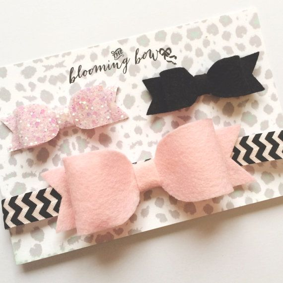 Girls and Baby Hair Bow Clip and Headband Set - Pink and and Black