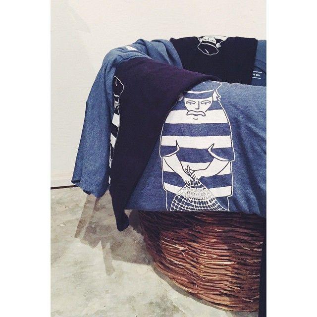 Our blue white t-shirts! #thebluewhite #silkscreen #tshirt #fisherman #greece #santorini