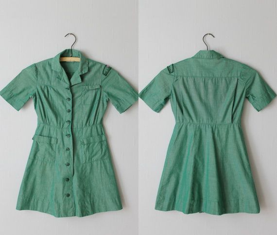 Vintage Girl Scout Uniform / 1950s Girl Scout Dress / Green