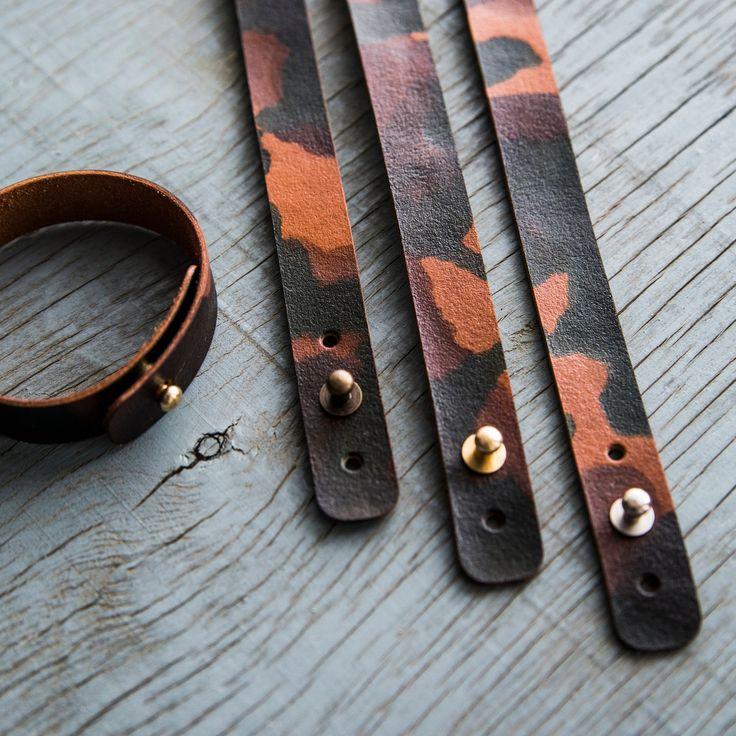 Custom Leather Bracelet/ Mens Leather Bracelet/ Womens Leather Bracelet/Camouflage Bracelet by PodkovaShop on Etsy