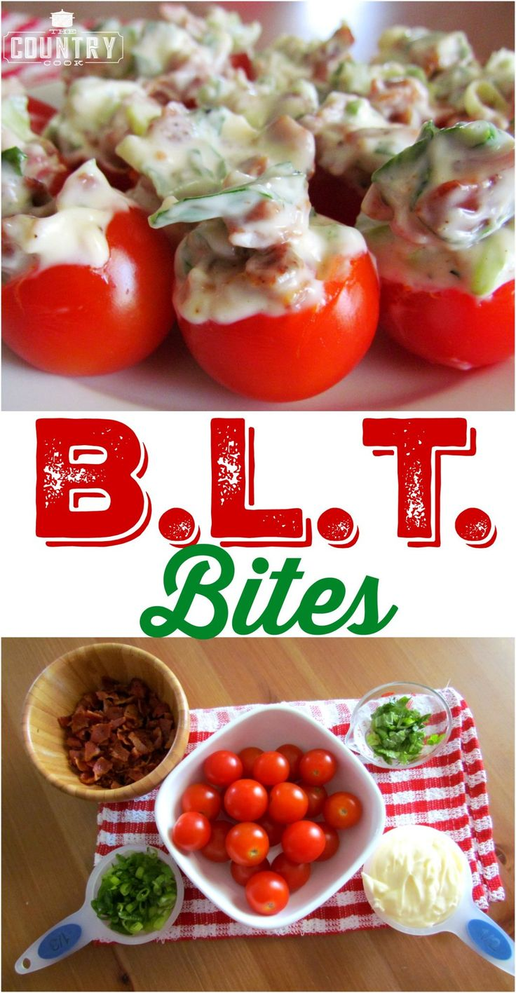 BLT Bites recipe from The Country Cook - Bacon, Lettuce and Tomato all one one delicious bite! An amazing appetizer!