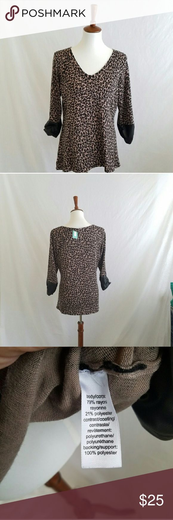 NEW Maurices Leather Cuffed Leopard Sweater New . Sleeves have leather like cuffs with rouching.  Stretchy .  #051504 Maurices Sweaters