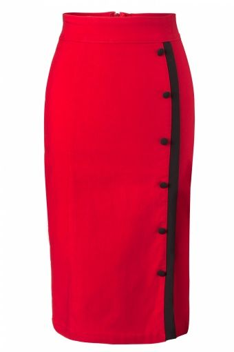 Rock Steady Clothing - Sarina Button Slit pencil skirt red