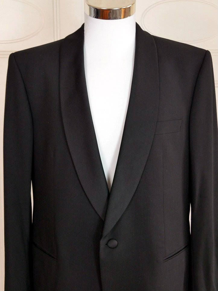 Viennese Vintage Tuxedo Jacket, Black Dinner Jacket w Satin Shawl Lapel, 1990s Black Smoking Jacket, European Tux Blazer: Size 40 (US, UK) by YouLookAmazing on Etsy