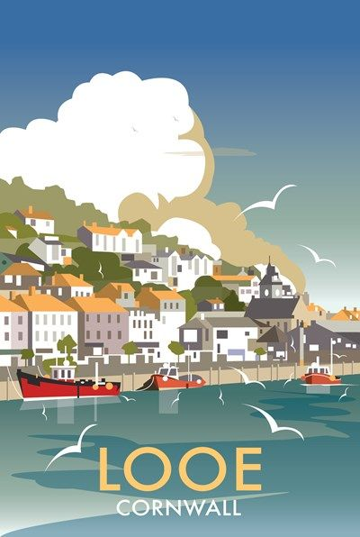 Looe Print at Whistlefish Galleries - handpicked contemporary & traditional art that is high quality & affordable. Available online & in store