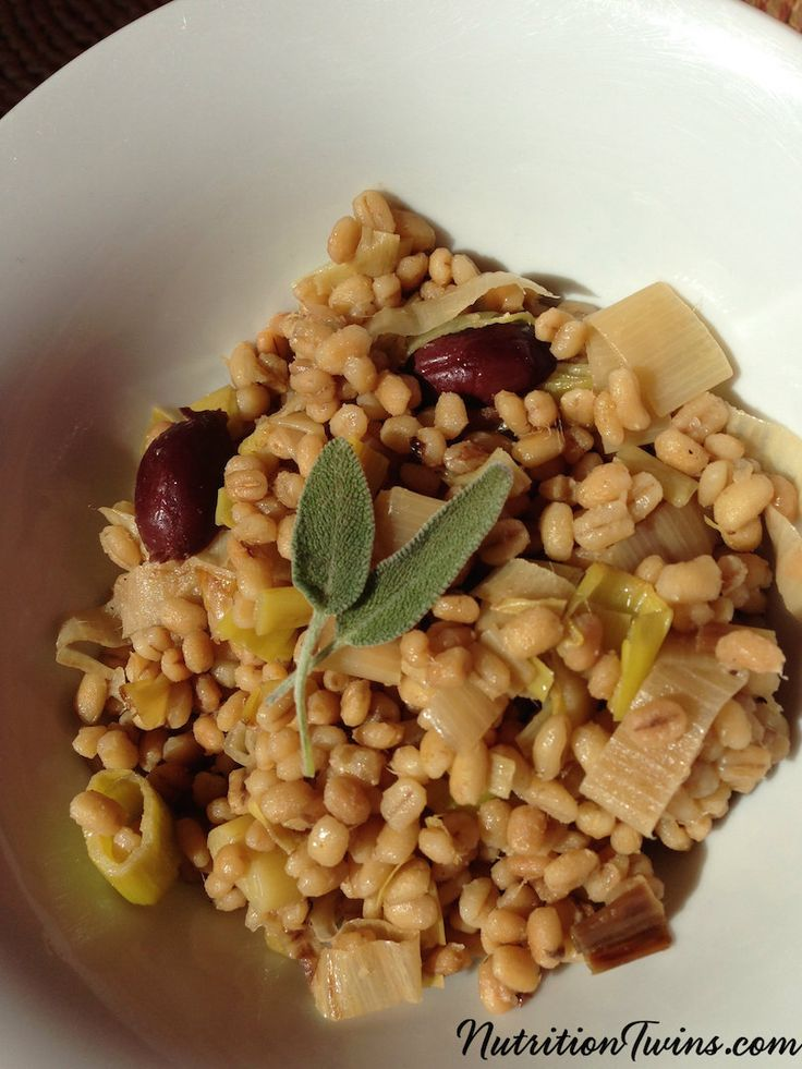 Olive and Leek Barley Risotto | Only 168 Calories | Super satiating, fiber-packed, healthy way to get carbs & comfort food |  For MORE TIPS & RECIPES please SIGN UP for our FREE NEWSLETTER www.NutritionTwins.com