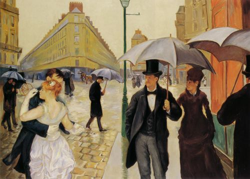 Gustave Caillebotte's Paris Street; Rainy Day, 1867-77.  It hangs in the Chicago Institute of Fine Art