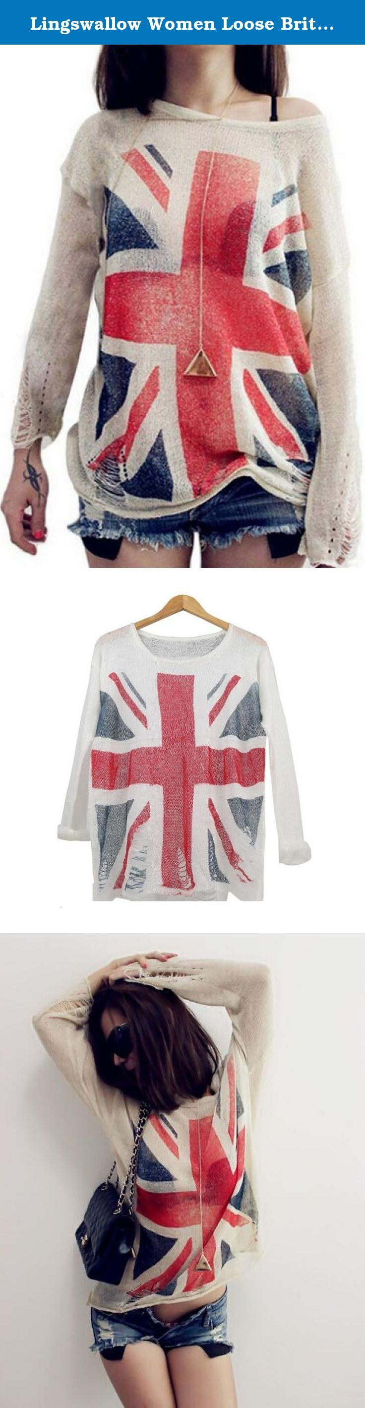 Lingswallow Women Loose British Flag Print Frayed Jumper Knit Sweater Free Black. Material:Cotton, Type:Knit Sweater, Color:Naked Apricot,White,Black, Pattern:British Flag Printing, Length(cm):68, Chest Width(cm):53, Sleeve Length(cm):50.