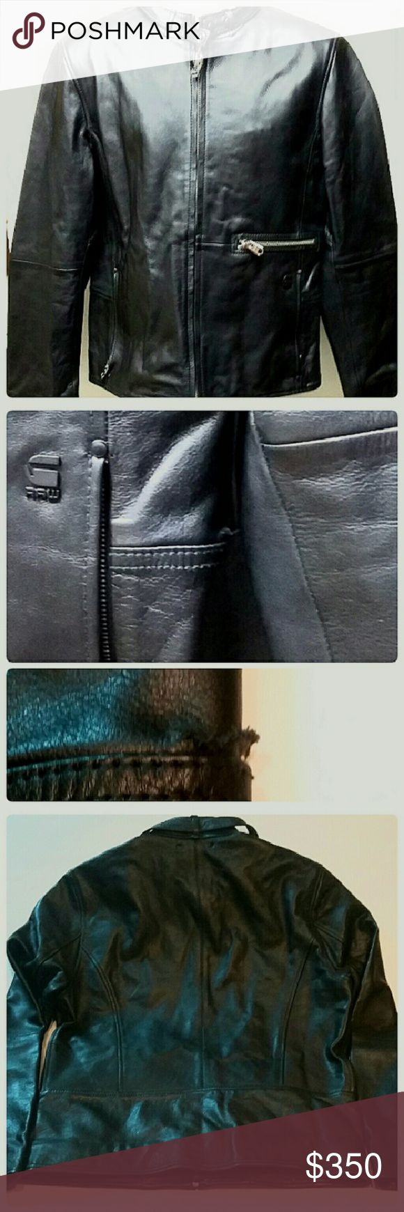 Men's G-Star Raw Correct  Leather Bike Jacket Sl This is a genuine leather G Star Raw correct motorbike jacket. This jacket is pre-owned and retails when new from $700 to $1,000 depending on the retailer. The jacket is in excellent condition. There is a very small tear above the left side pocket. It is ess than 1 inch in length. The jacket is marked a size XL. This jacket is offered at only  $350 due to the small tear described above. As you can see, it is barely  noticeable especially when…