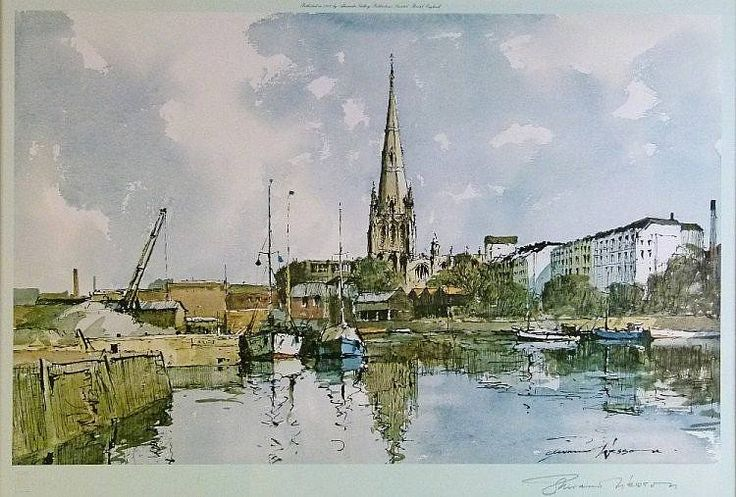 Edward Wesson 1910 1983 Uk Bristol City Docks With St Mary Redcliffe Watercolor Ink