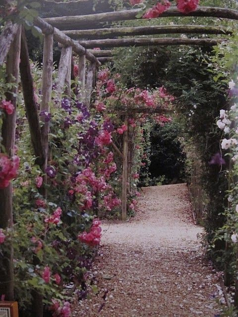 rose gardens behind Stone Easton Park: Rose Gardens, Gardens Walkways, Secret Gardens, Climbing Rose, Gardens Paths, Rustic Arbors, Vintage Rose, Flower, Back Yard