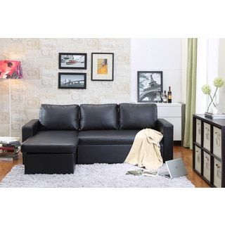 Shop for the-Hom 2-piece Black Georgetown Bi-cast Leather Sectional Sofa Bed with Storage. Get free shipping at Overstock.com - Your Online Furniture Outlet Store! Get 5�0in rewards with Club O!