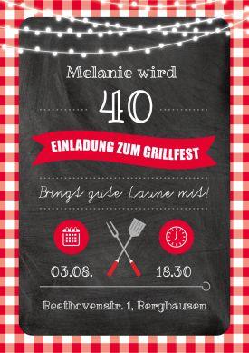 Trendy Einladungskarte in rustikalem Look zur 40. Geburtstags-Grillparty