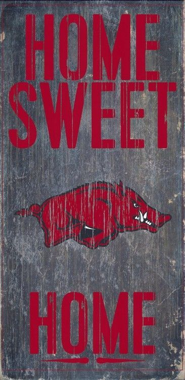 "Arkansas Razorbacks Wood Sign - Home Sweet Home 6""""x12"""""