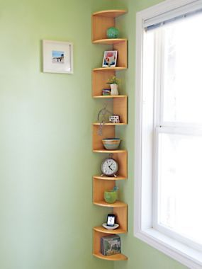 Turn an empty corner into an eye-catching space for favorite items with corner shelves | Solutions.com #Shelves #Home #Decor