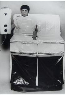 """Helen Chadwick ~ In the Kitchen (1977). In her earlier work she questioned the role of the female body in art as a decorative object, just as decorative and aesthetic ideas about art themselves had been questioned in the 20th century. In the late 80s she changed saying, """"I made a conscience decision not to represent my body. It immediately declares female gender and I wanted to be more deft."""""""