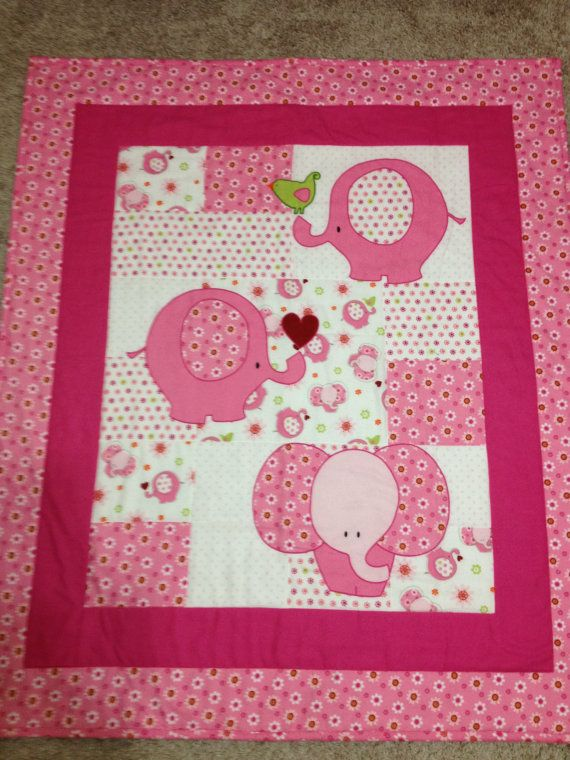 Elephant Baby Quilt by LLBGrandmaDesigns on Etsy