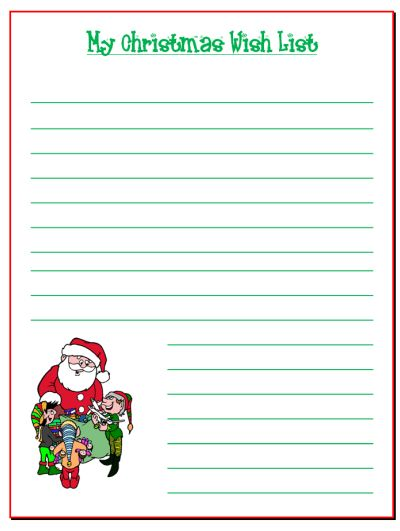 9 best images about Christmas Independent writing – Xmas Wish List Template