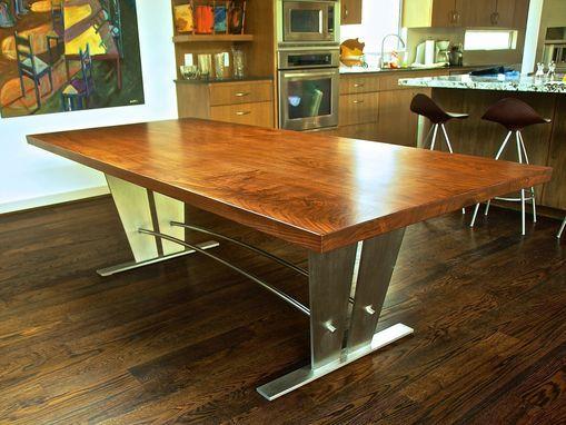 Custom Made Walnut & Stainless Steel Dining Table